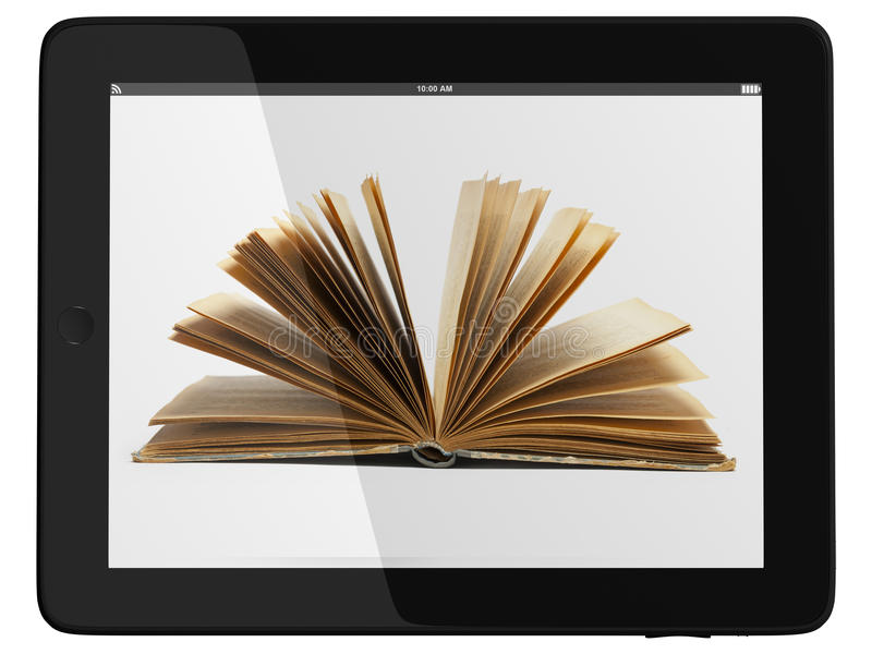 Marquez sur tablette l'ordinateur et le livre - concept de bibliothèque de Digitals photo stock