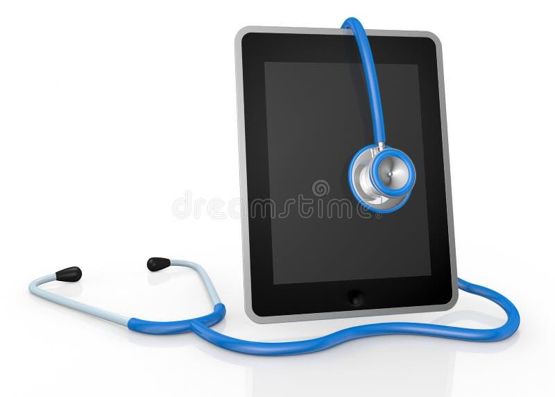 Marquez sur tablette le PC et le stéthoscope illustration de vecteur