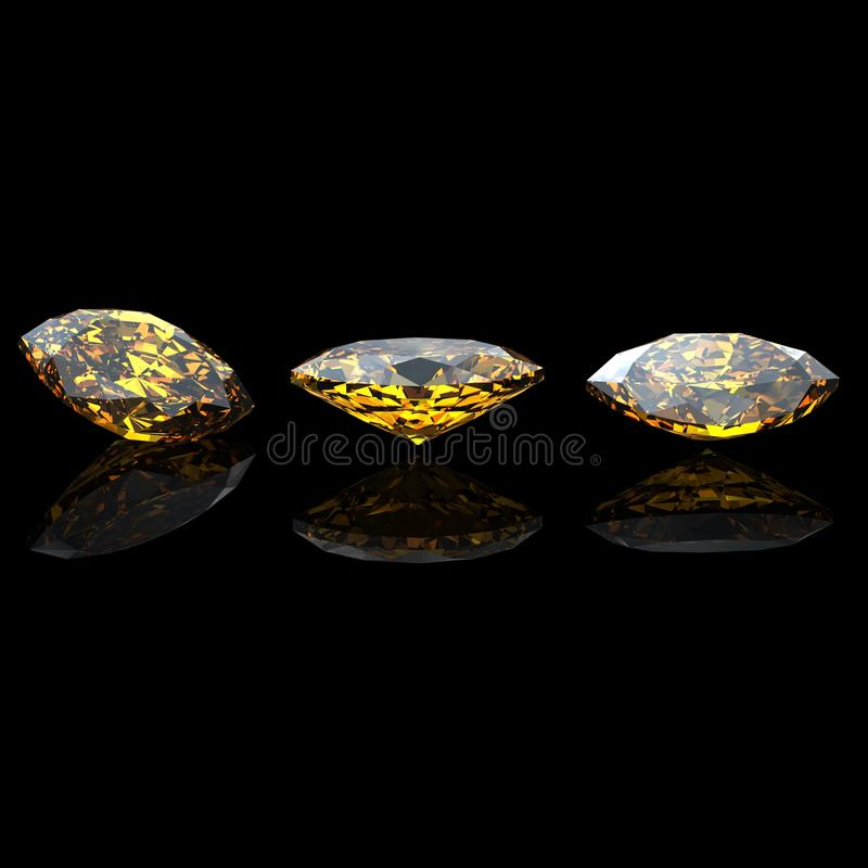 Marquis. Citrine.  Jewelry Gems On Black Stock Image