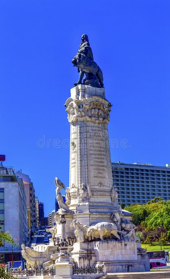 Marquis of Pombal Column Square Lisbon Portugal stock photos