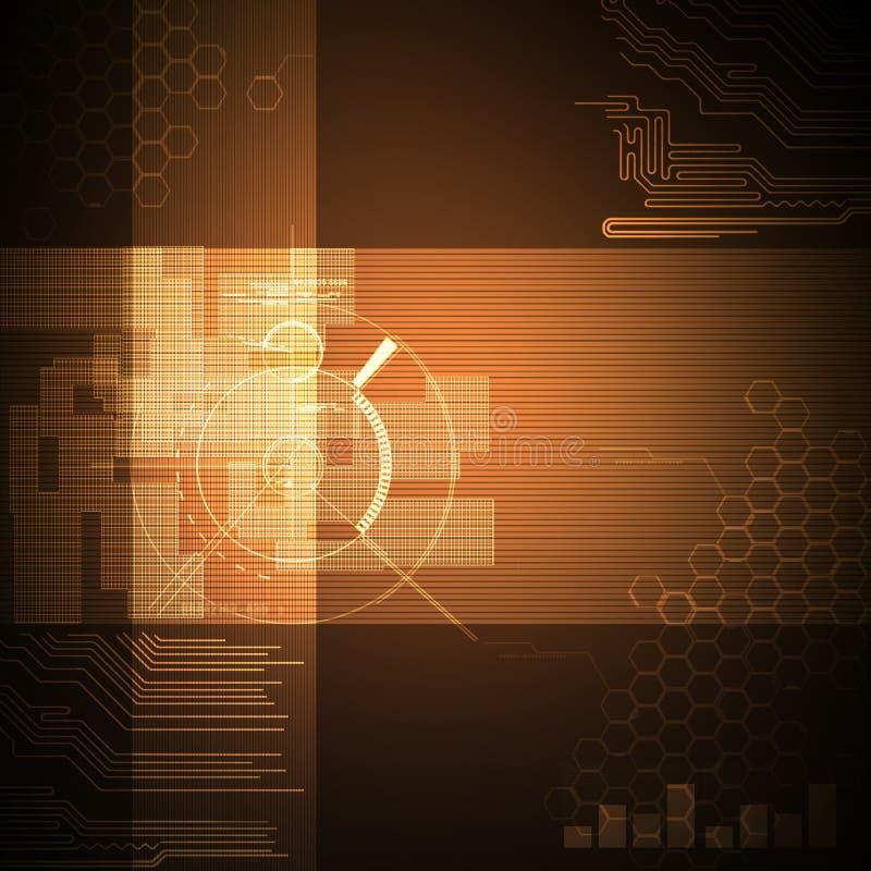 Marrón abstracto del fondo de la tecnología libre illustration