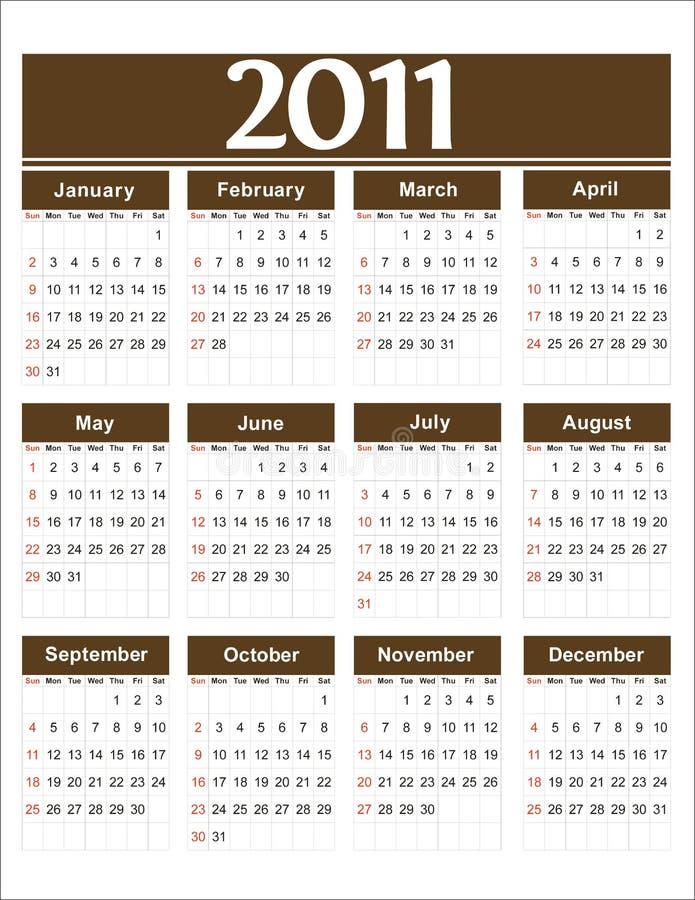 Marrón del calendario 2011 del vector imagen de archivo