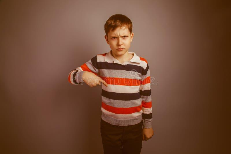 Marrón europeo del aspecto del adolescente del muchacho surcado foto de archivo libre de regalías