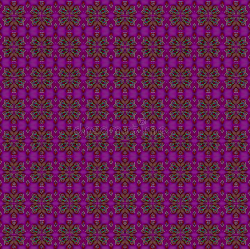Marrón verde púrpura del estampado de flores regular inconsútil libre illustration