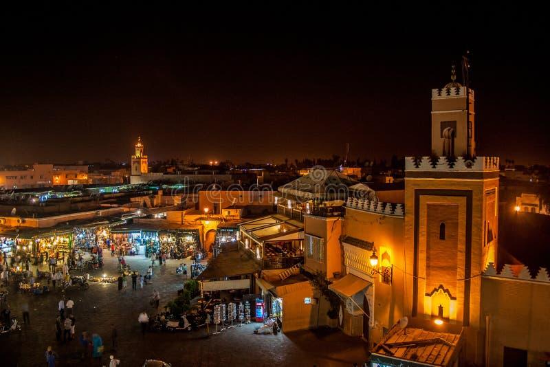 Marrakech к ноча стоковые изображения