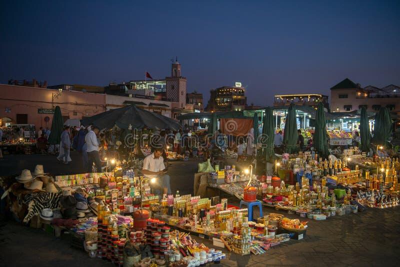 Marrakech, Marrakesh Market, Morocco, Travel. Vendors sell their wares in the Marrakech or Marrakesh market in Morocco. Africa is a popular travel destination stock photo