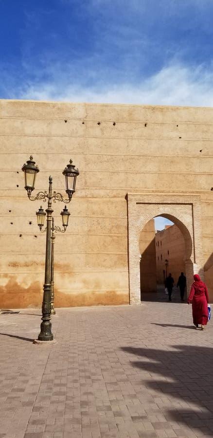 Marrakech medina vägg arkivfoto