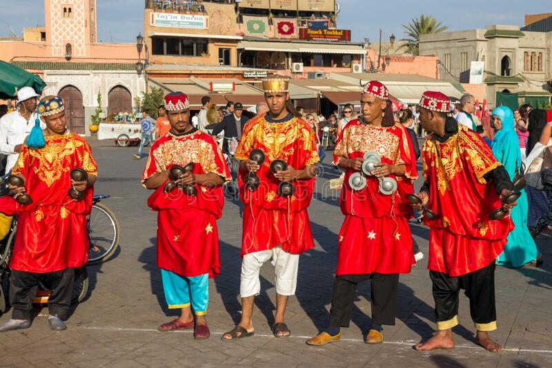 MARRAKECH, MOROCCO - APR 29, 2016: Gnawa Musicians performing on the Djemaa El Fna square In Marrakech, Morocco royalty free stock image