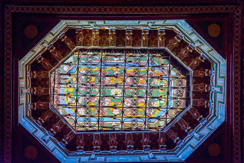Bahia palace ceiling, Marrakech royalty free stock image