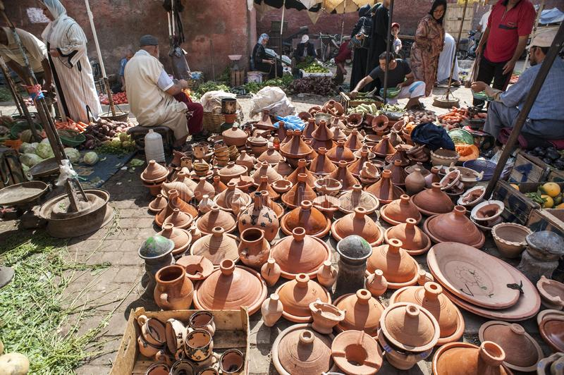 Moroccan tajines ceramic cookware at the market of Marrakesh, Morocco royalty free stock photo