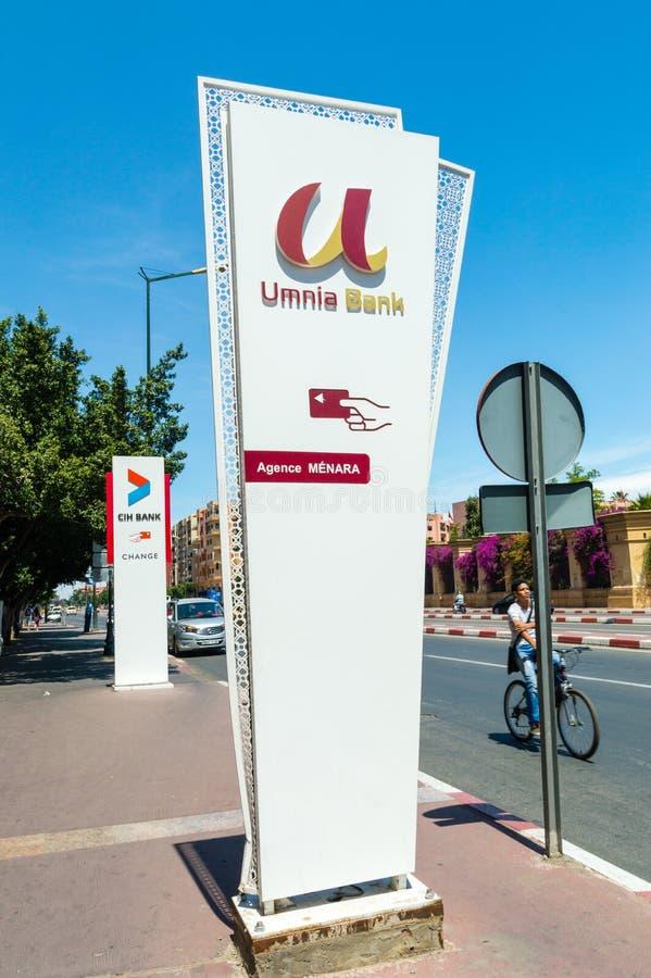 marrakech morocco june logo sign umnia bank logo sign umnia bank 122117450