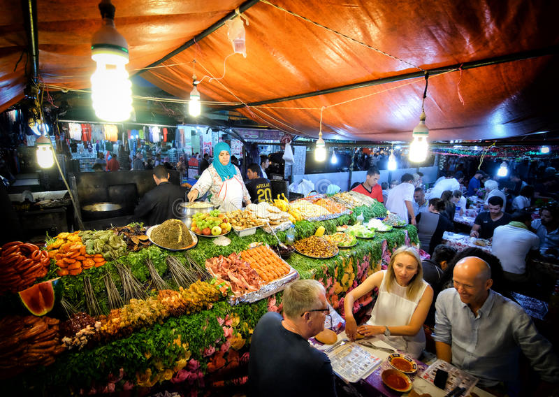 MARRAKECH, MOROCCO, JUNE 2016: old street food shop in Jama el-Fna traditional market in the old medina royalty free stock photos