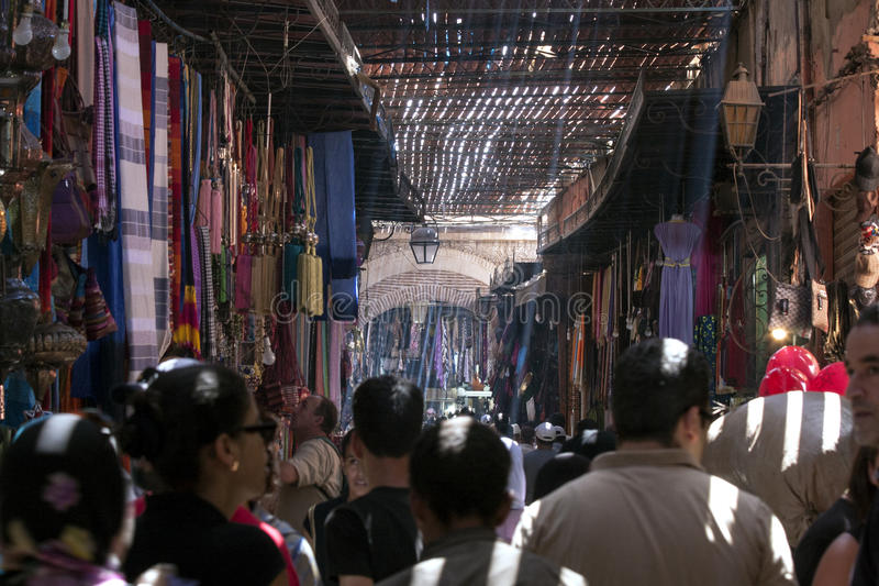 MARRAKECH, MOROCCO SEPT 9TH: A busy souk on September 9th 2010. royalty free stock photos