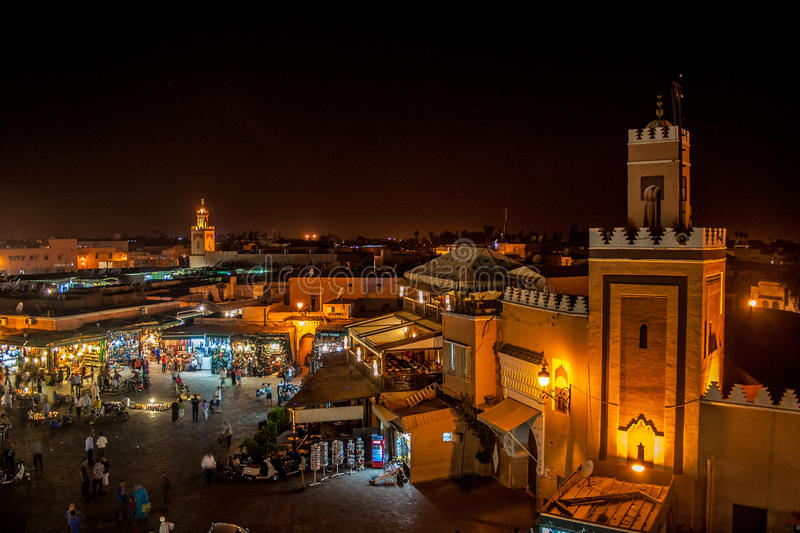 Marrakech nocą obrazy stock
