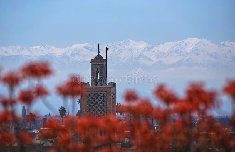 Marrakesh berg, moské, magiska Marocko royaltyfria foton