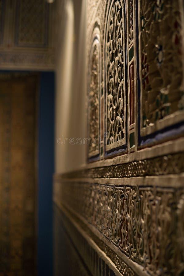 MARRAKESH MAROKO, JAN, - 20: Marokańskiej architektury tradycyjny arabski projekt - bogactwo Riyad Dar Si Powiedział mozaiki wn obrazy stock