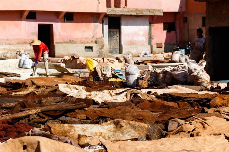 Marrakesh, Marruecos Curtiduría y pieles animales o mentira del cuero en la tierra en el Medina foto de archivo