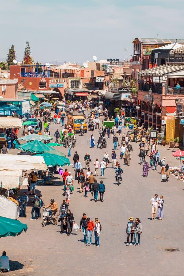 Marrakesh, Marruecos - fna del EL del jamaa foto de archivo