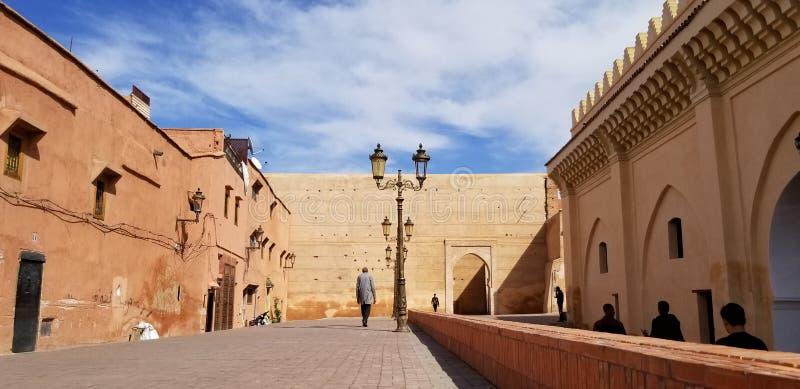 Marrakesh Medina stadsväggar - gammal stärkt stad arkivfoto