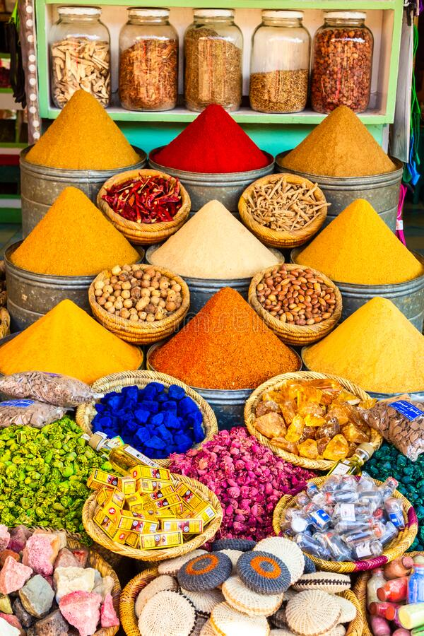 MARRAKESH, MOROCCO - APR 29, 2016: Herbs and spices sold in a shop in the souks of Marrakesh, Morocco royalty free stock photography