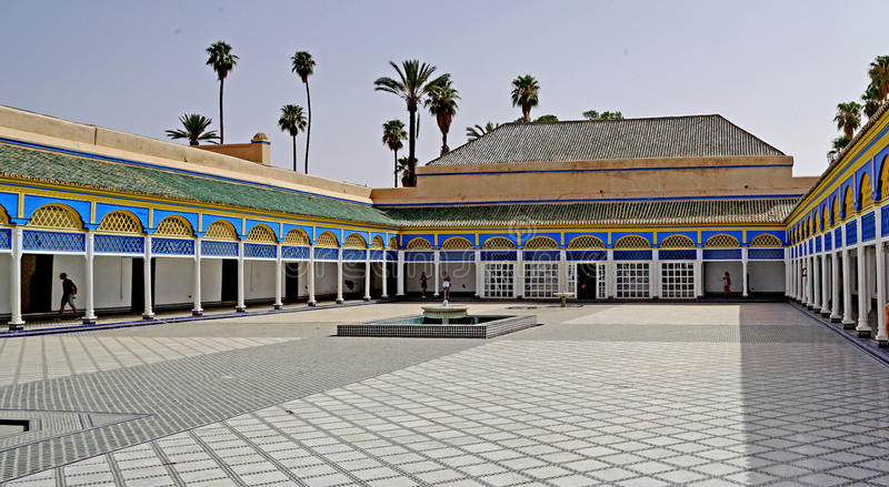 Arcade of the El Bahia Palace in Marrakesh royalty free stock images