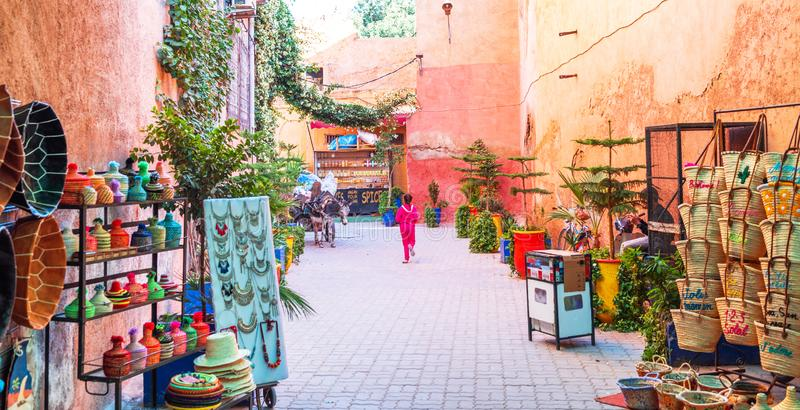 Marrakesh, Morocco - November 15, 2019: Market on a city street with souvenirs.  stock image