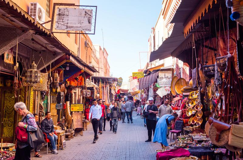 Marrakesh, Morocco - November 15, 2019: Market on a city street with souvenirs.  stock images