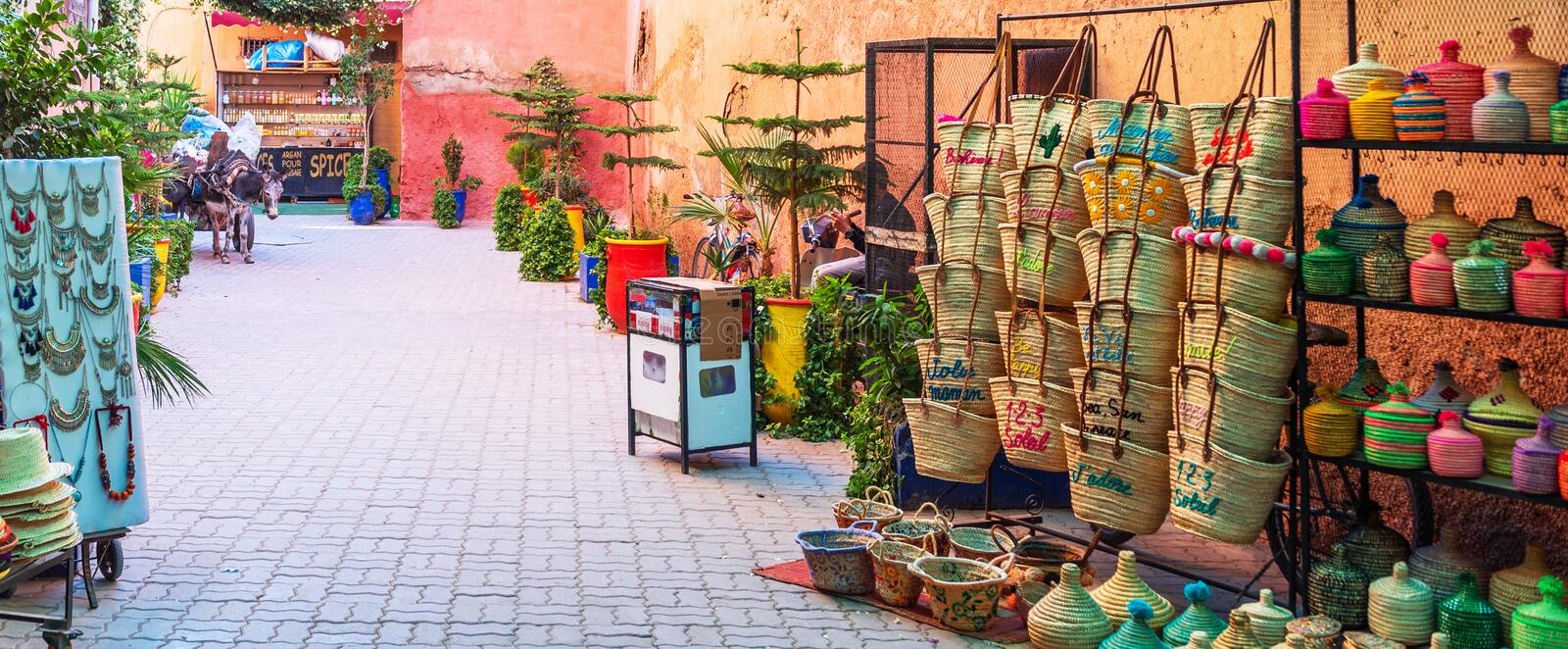 Marrakesh, Morocco - November 15, 2019: Market on a city street with souvenirs.  royalty free stock images