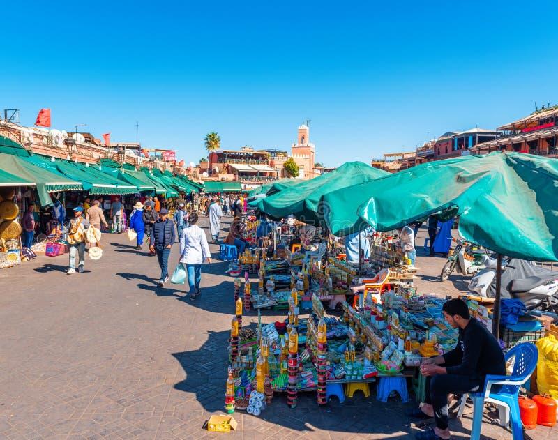 Marrakesh, Morocco - November 15, 2019: Market in Jamaa El Fna Square.  royalty free stock images