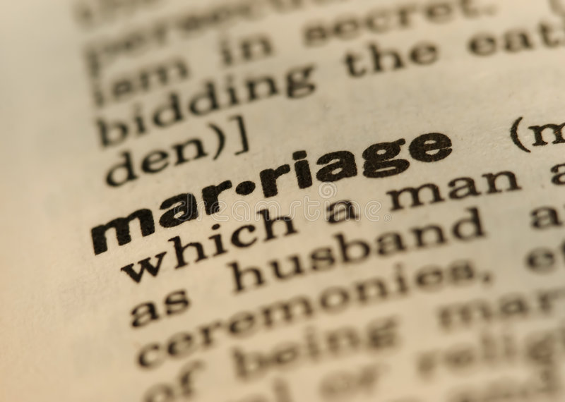 Marriage. Definition Close up from old Dictionary