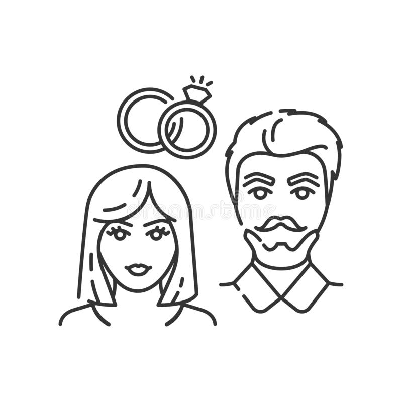 Marriage black line icon. Find love in dating site. Happy couple and rings. Sign for web page, mobile app. stock illustration
