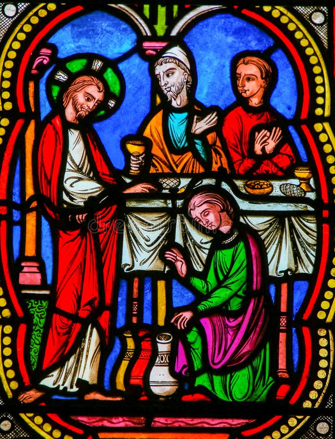 Marriage at Cana, Jesus& x27; first miracle in the Gospel of John stock photography