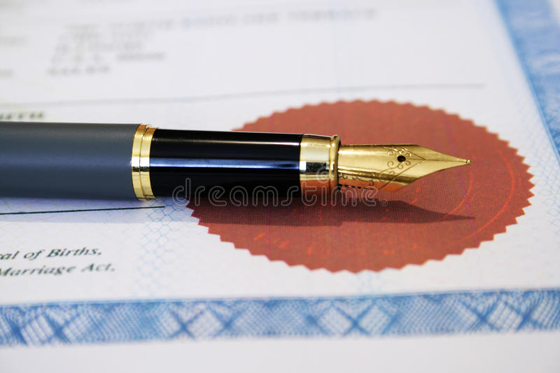 Marriage certificate royalty free stock photos
