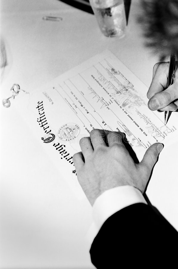 Marriage certificate stock photos