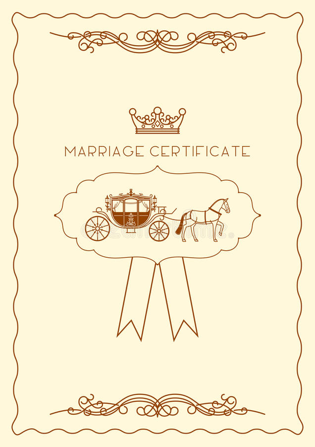 Marriage Certificate Document Template Stock Vector Illustration