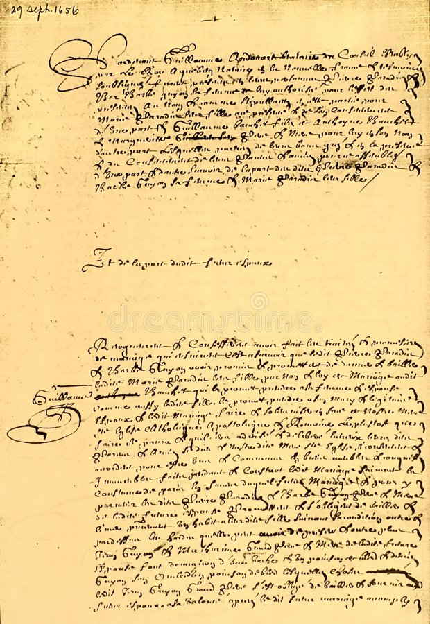 Marriage Contract dated 1656. Marriage contract, written and dated Sept 29, 1656, Canadian, written in French, page 1 of 2 royalty free stock image