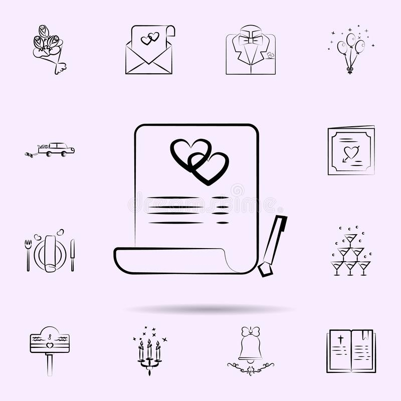 Marriage contract icon. Universal set of wedding for website design and development, app development. On color background stock illustration