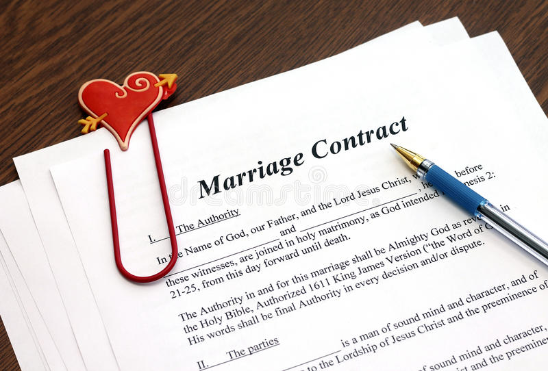Marriage Contract With Pen On Wooden Table Stock Image  Image Of