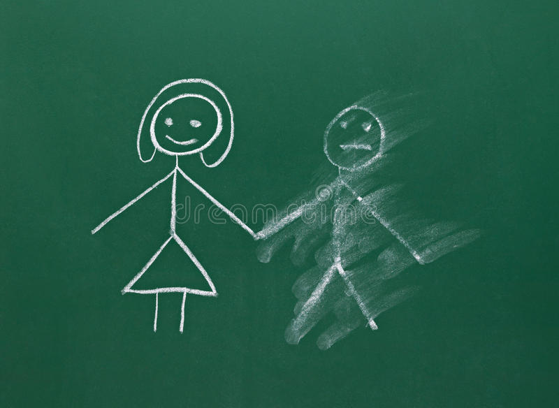 Download Marriage Couple Drawing On Chalk Board Divorce Break Up Smudged Royalty Free Stock Photos - Image: 28005018