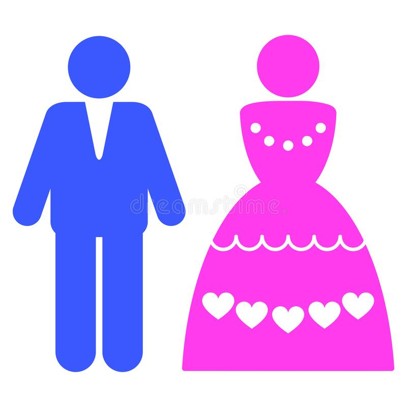 Marriage Couple Flat Icon. Marriage Couple flat vector pictograph. An isolated icon on a white background royalty free illustration