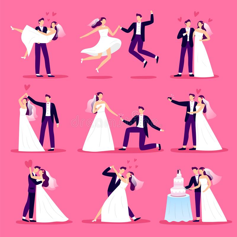 Marriage couple. Just married couples, wedding dancing and weddings celebration. Newlywed bride and groom vector stock illustration