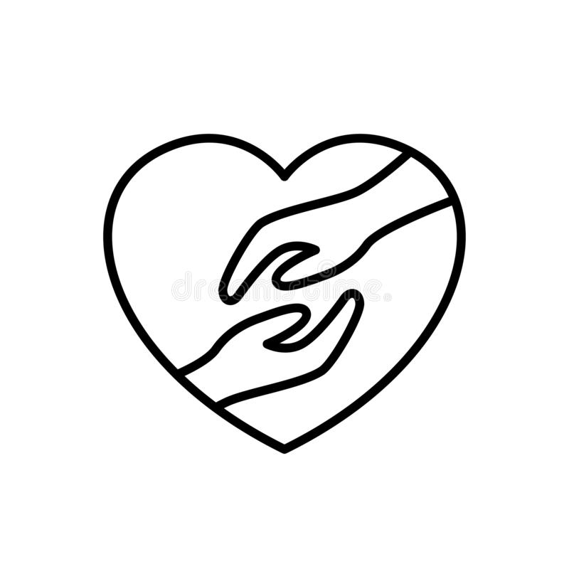 Marriage couple relationship icon. groom and bride hand with love frame illustration. simple clean monoline symbol stock illustration