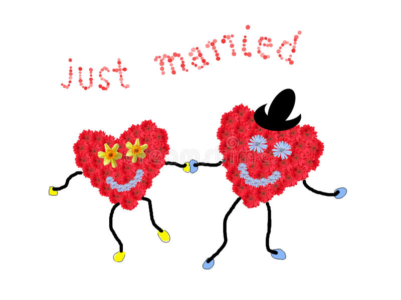 Marriage couple - two smiling flower hearts holding hands, text. Just married, isolated on white royalty free illustration