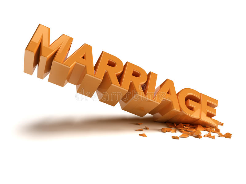 Marriage crash. Written reflective orange Marriage, the angle of the writing is broken royalty free illustration