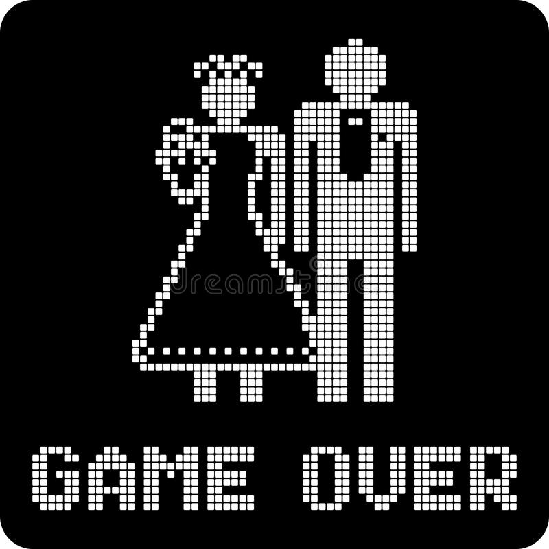 Marriage game over sign stock illustration