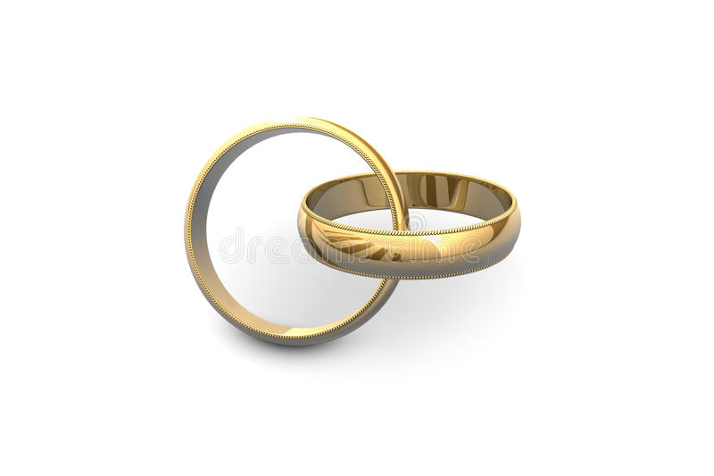 Marriage. Gold wedding rings isolated on white background stock illustration