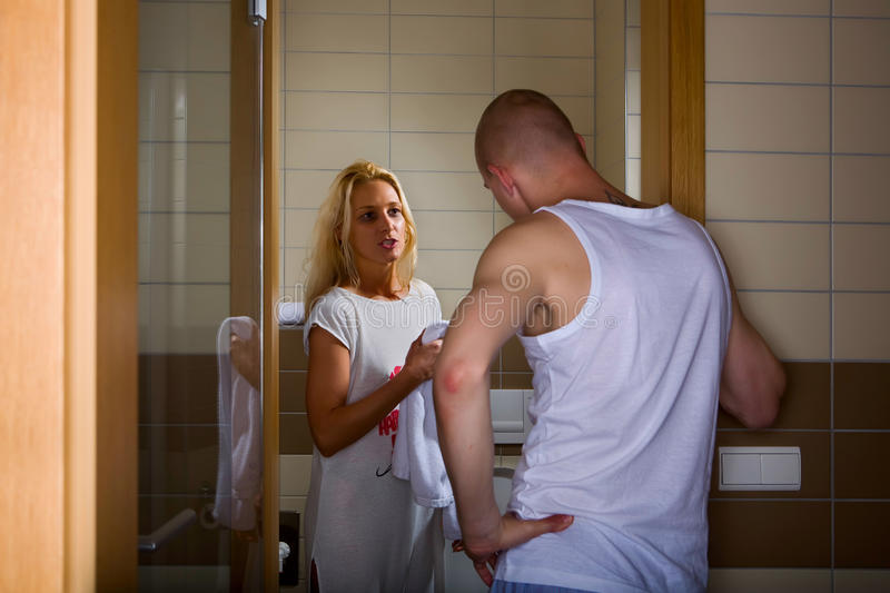 Marriage hassle. Couple in conflict - domestic violence and problems of couple relations royalty free stock images