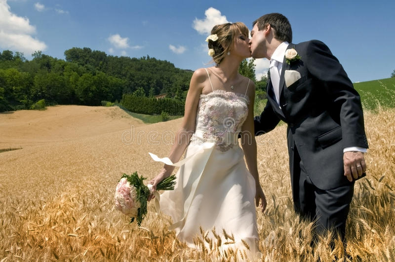 Marriage kiss. A man and a woman kissing in a field of wheat after the marriage royalty free stock photography