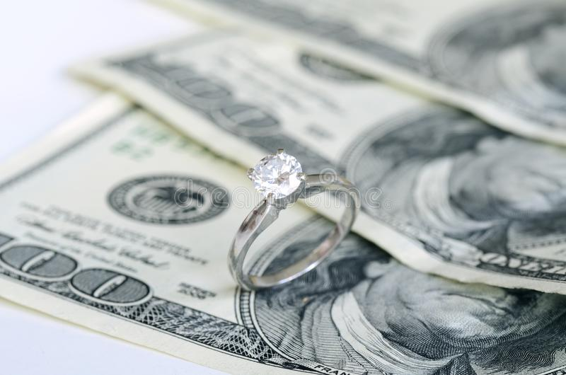 Marriage and money. Concept of high wedding cost and divorce stock photo