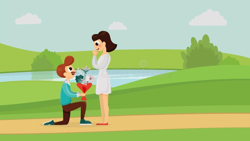 Marriage proposal concept. Man standing on knee making marriage proposal holding big bouquet in the park. Lovely happy couple vector flat style illustration royalty free illustration